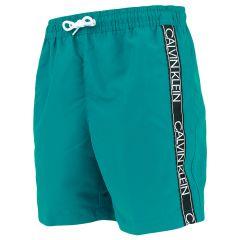 jongens tape logo II zwemshort teal blauw