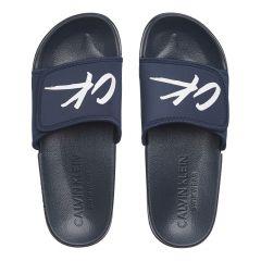 slippers handwritten ck logo blauw