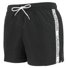 tape logo sides zwemshort zwart