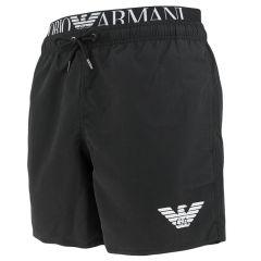double waistband logo zwemshort zwart