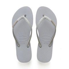 dames slippers slim glitter grijs