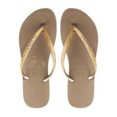 dames slippers slim glitter roségoud
