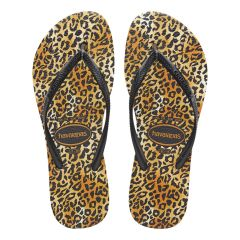 dames slippers slim leopard bruin