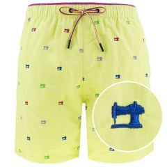 zwemshort naaimachine geel