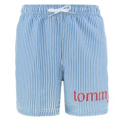 jongens striped statement logo zwemshort blauw