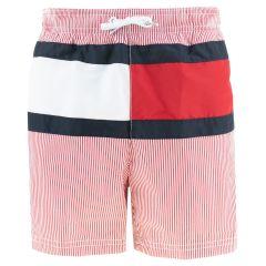 jongens flag logo stripe zwemshort rood & wit