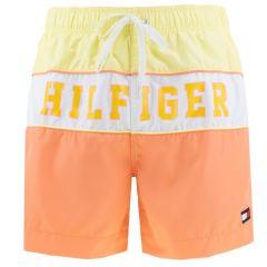color blocking zwemshort geel & oranje
