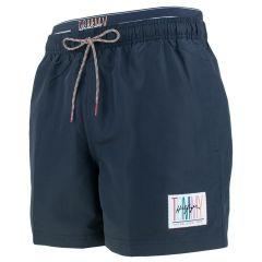 double waistband embleem zwemshort blauw